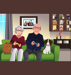 Elderly couple playing games at home vector