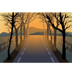 Empty road with dried trees by the roadside vector image