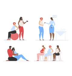 Fitness and advisory classes for pregnant set vector