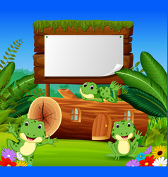 frog and house in a beautiful nature vector image