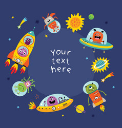 funny monsters in space vector image