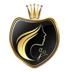 girl face silhouette with crown beauty salon vector image