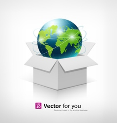 Globe on open white box vector image