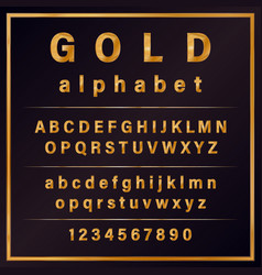 Gold colored metal chrome alphabet font vector