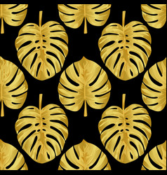 Gold monstera seamless pattern vector