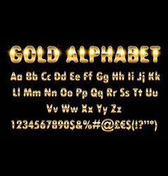 Golden alphabet letters numbers vector image