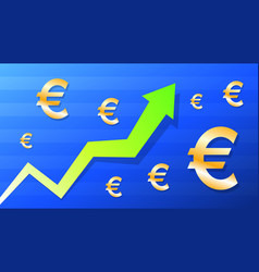 graph show value grow of euro green arrow and vector image