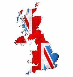 grunge united kingdom map with flag inside vector image