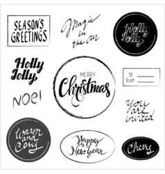 hand drawn Christmas phrases lettering set vector image