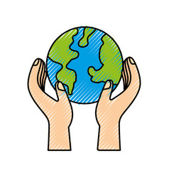 hands holding planet earth ecological vector image