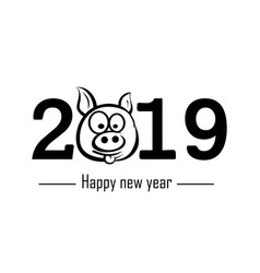 happy new year 2019 and pig vector image