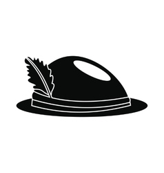 Hat with a feather icon vector