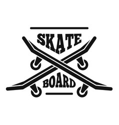 hipster skateboard logo simple style vector image