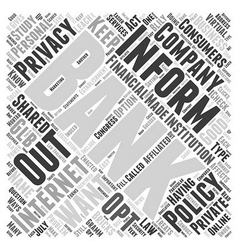 Internet Banking and Privacy Policies Word Cloud vector