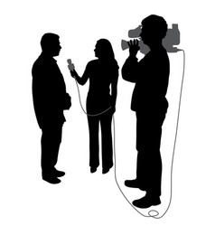 interview with cameraman vector image vector image