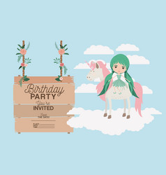 Invited birthday party card with unicorn and fairy vector
