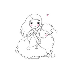 knitting girl and a cute cartoon sheep vector image