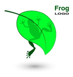 Logo with a frog on a bright green leaf vector image