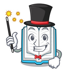 Magician opened book in the cartoon box vector