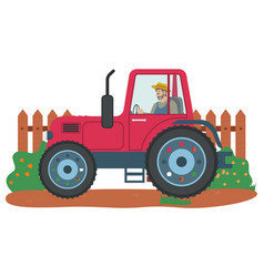 Man driving tractor agriculture and farming vector