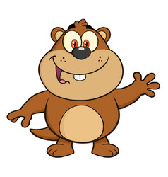 marmot cartoon character waving vector image