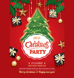 merry christmas party and tree on red background vector image