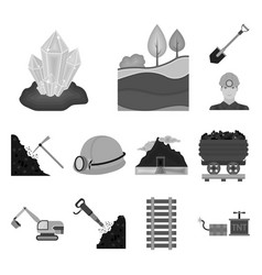 mining industry monochrome icons in set collection vector image
