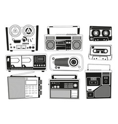monochrome pictures set of various vintage audio vector image