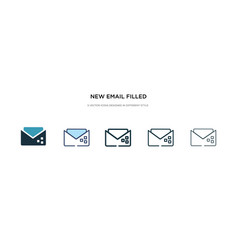 New email filled envelope icon in different style vector