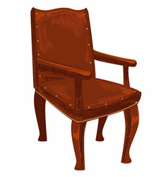 Old fashioned wooden chair vintage furniture vector