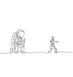 one continuous line drawing astronaut playing vector image