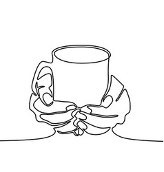 one line drawing hand holding mug with tea or vector image
