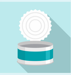 Open tin can icon flat style vector