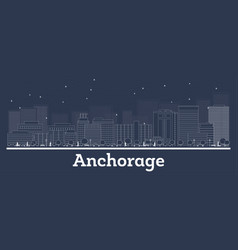 outline anchorage alaska city skyline with white vector image