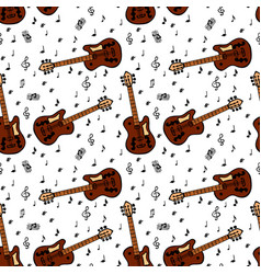 painted brown bass guitar and musical notes vector image