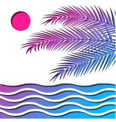 Palm and sea vector
