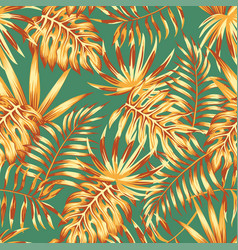 palm leaves retro color seamless pattern vector image