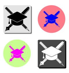 pencil and graduation cap flat icon vector image
