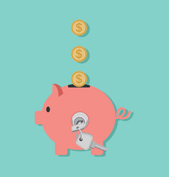 piggy bank with coin and key lock for save money vector image