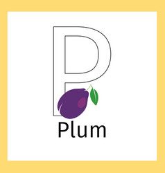 plum and letter p coloring page vector image vector image