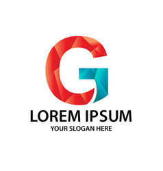 polygonal initial g with logo vector image