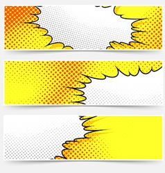 Pop-art comic book style yellow header set vector