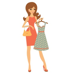 Pretty girl shopping for dress vector image