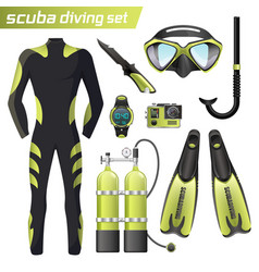 Realistic snorkeling and scuba diving equipment vector