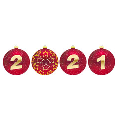 red christmas balls with 2021 new year on white vector image