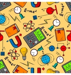 Science laboratory seamless pattern background vector