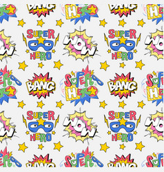 seamless pattern comics pop art style inscriptions vector image