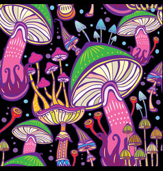 seamless patterns with decorative mushrooms vector image