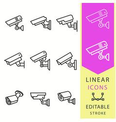 security camera line icon editable stroke vector image