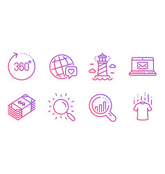 Seo analysis world brand and e-mail icons set vector